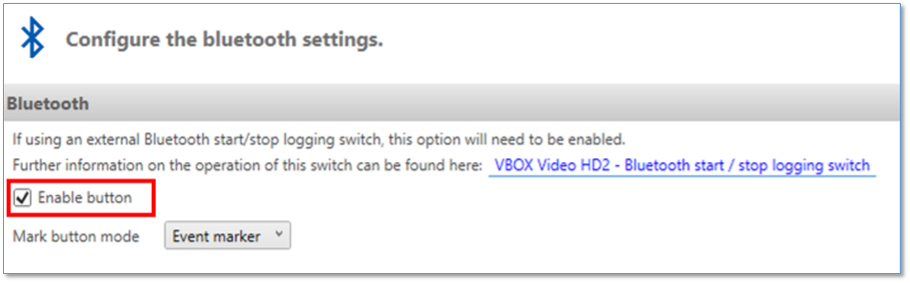 Bluetooth Settings Enable Button